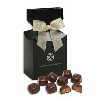 Barrel-Aged Bourbon Caramels in Black Premium Delights Gift Box