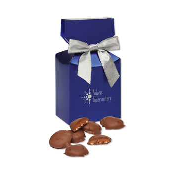 Pecan Turtles in Blue Premium Delights Gift Box