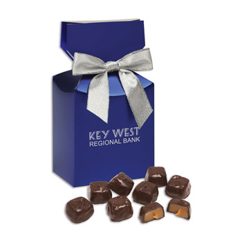 Barrel-Aged Bourbon Caramels in Blue Premium Delights Gift Box