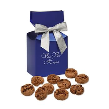 Bite-Sized Chocolate Chip Cookies in Blue Premium Delights Gift Box