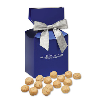 Bite-Sized Butter Toffee Pecan Cookies in Blue Premium Delights Gift Box