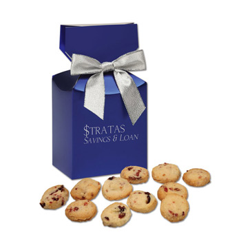 Bite-Sized Cranberry Shortbread Cookies in Blue Premium Delights Gift Box