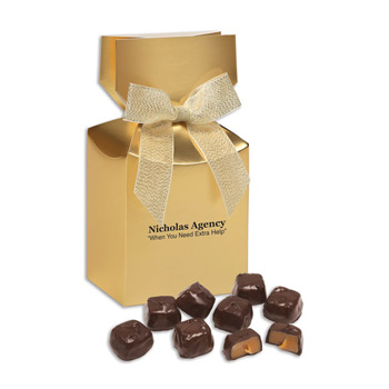 Barrel-Aged Bourbon Caramels in Gold Premium Delights Gift Box