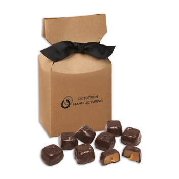 Barrel-Aged Bourbon Caramels in Kraft Premium Delights Gift Box