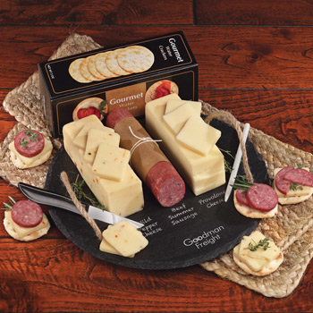 Round Slate Serving Plate with Shelf-Stable Cheese & Sausage