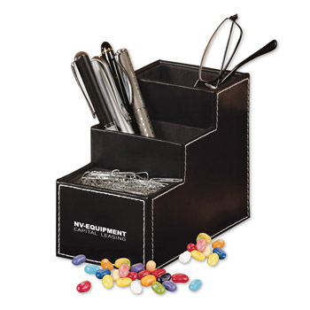 Faux Leather Desk Organizer with Jelly Belly® Jelly Beans