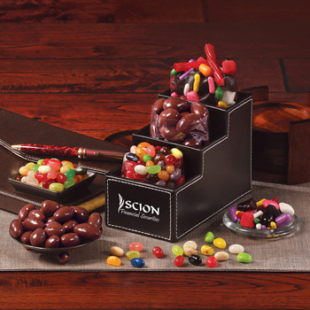 Faux Leather Desk Organizer filled with Gourmet Treats
