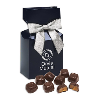 Barrel-Aged Bourbon Caramels in Navy Premium Delights Gift Box
