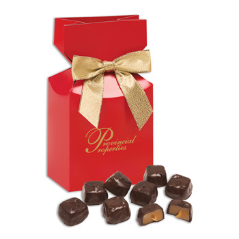 Barrel-Aged Bourbon Caramels in Red Premium Delights Gift Box