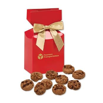 Bite-Sized Chocolate Chip Cookies in Red Premium Delights Gift Box