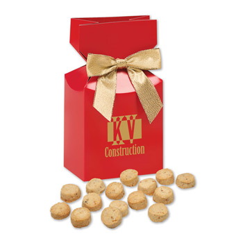 Bite-Sized Butter Toffee Pecan Cookies in Red Premium Delights Gift Box