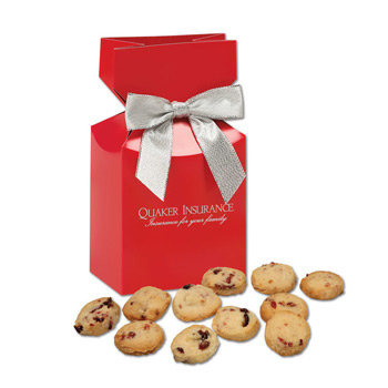 Bite-Sized Cranberry Shortbread Cookies in Red Premium Delights Gift Box