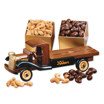 1930-Era Flat Bed Truck with Chocolate Almonds & Extra Fancy Jumbo Cashews