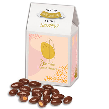 Chocolate Covered Almonds in Gable Top Gift Box with Full Color Imprint