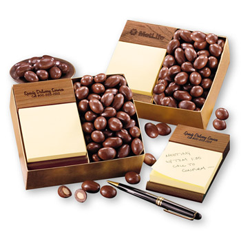 Post-it® Note Holder with Chocolate Covered Almonds